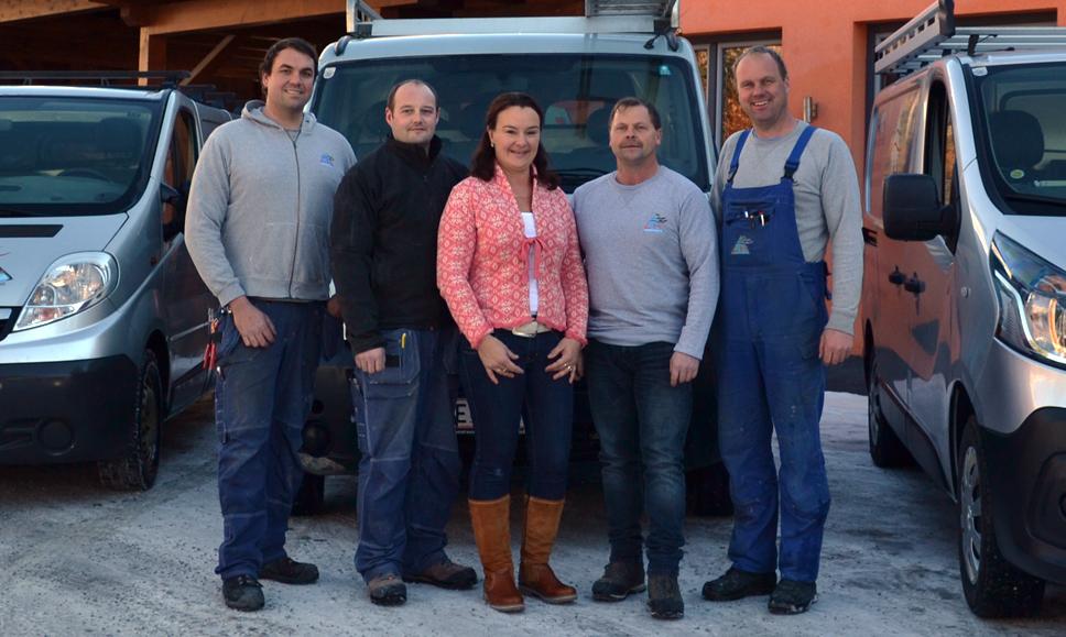 Unsere Mitarbeiter Stefan Fersterer,  Alfred Quehenberger,  Christian Schwaiger,  Johann Eder und Manuela Fersterer-Schwab